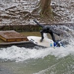 Eisbach Muenchen Simon Air Surf Session im ersten Schnee 2010