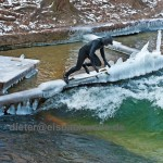 Eisbach River Surfing Ice bach munich